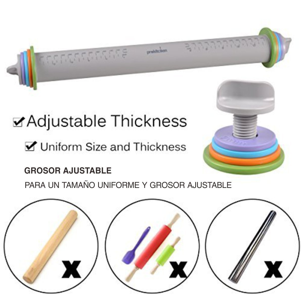 PROKITCHEN Adjustable Silicone Rolling Pin Dough Roller with Removable Thickness Rings Guides for Baking Dough Pizza Pie Cookies by PROKITCHEN (Image #3)