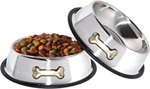 GPET Dog Bowl 32 Oz Stainless Steel Bowls with Anti-Skid Rubber Base for Food or Water Perfect Dish for Dog Puppy Cat and Kitten (2 Pack)
