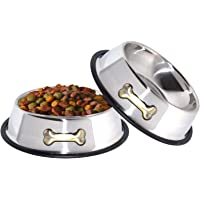 GPET Dog Bowl 32 Oz Stainless Steel Bowls with Anti-Skid Rubber Base for Food or Water Perfect…