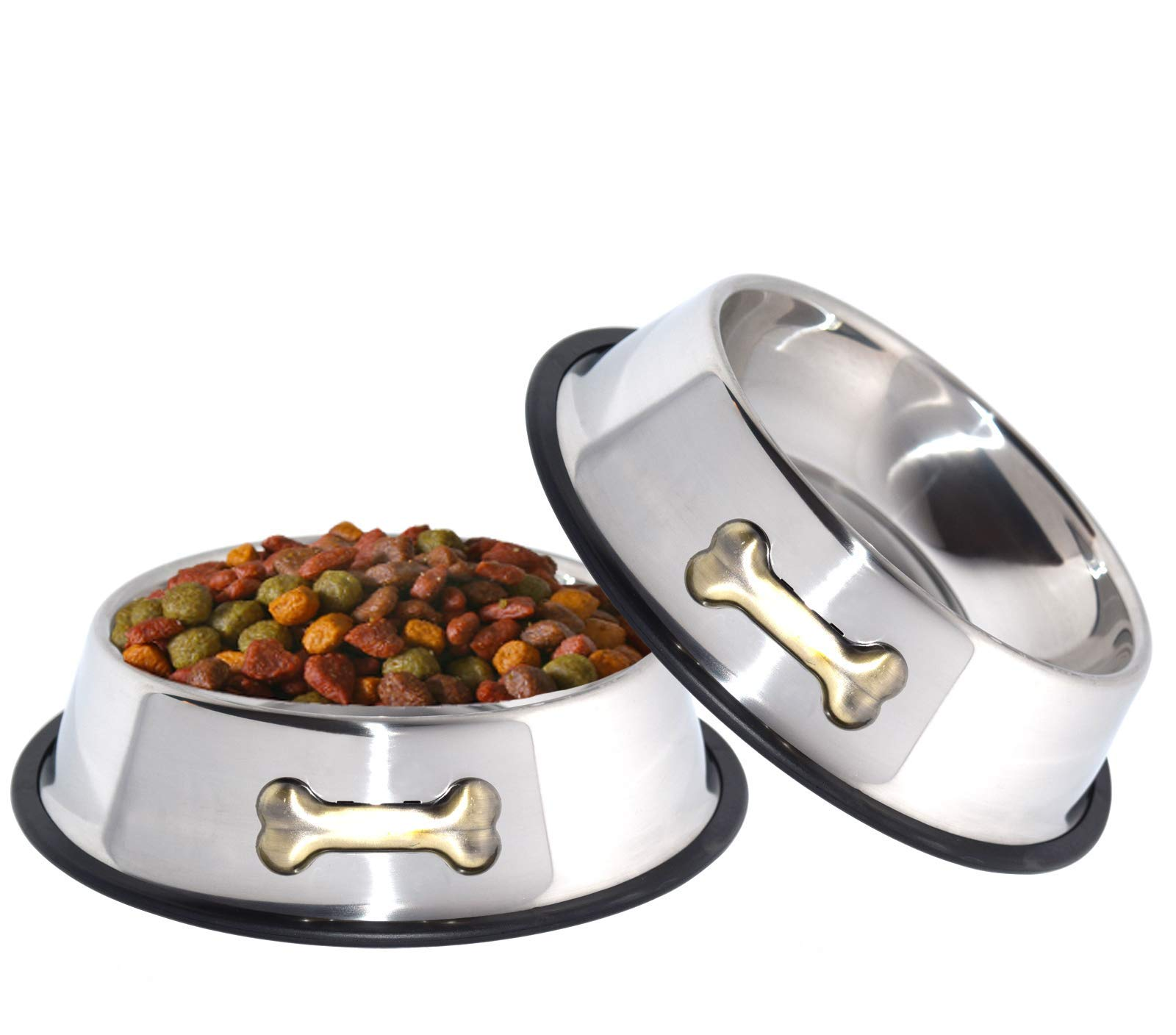 GPET Dog Bowl 32 Oz Stainless Steel Bowls with Anti-Skid Rubber Base for Food or Water Perfect Dish for Dog Puppy Cat and Kitten (2 Pack) by GPET