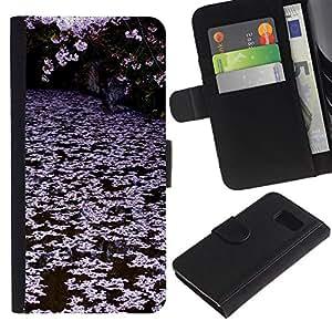 A-type (Trees Lake Pink White) Colorida Impresión Funda Cuero Monedero Caja Bolsa Cubierta Caja Piel Card Slots Para Samsung Galaxy S6