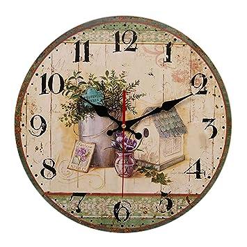 Reloj de Pared/Reloj silencioso, Reloj Digital Decorativo para el hogar de Dibujos Animados, Apto para Sala de Estar, Dormitorio, Cocina (14 Pulgadas): ...