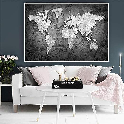 Mapa gris lienzo cuadro de arte estilo nórdico dormitorio ...