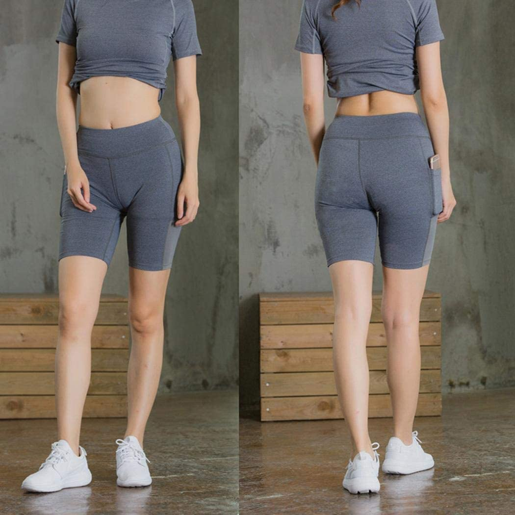 LEANO Women Yoga Fitness Running Gym Stretch Sports Pocket Shorts Active Shorts