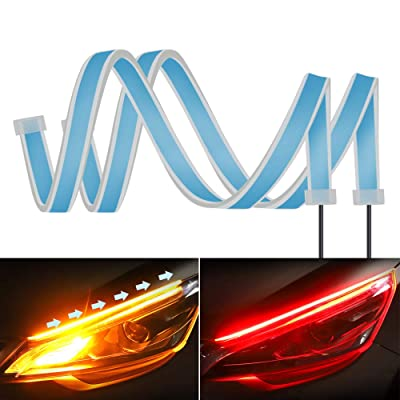 2PC 24 Inch Dual Color Red/Sequence Amber LED Headlight Strip Tube, Waterproof Flexible Adhesive Daytime Running Lights DRL Switchback Glow Light Strip Headlight Decorative Lamp for Car: Automotive