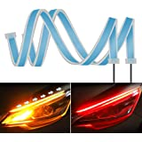 2PC 24 Inch Dual Color Red/Sequence Amber LED Headlight Strip Tube, Waterproof Flexible Adhesive Daytime Running Lights DRL S
