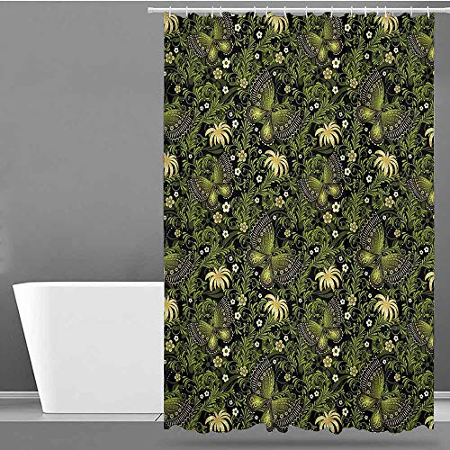 VIVIDX Bathroom Shower Curtain,Sage,Spring Inspired Ornaments Butterflies Little Blossoms Swirled Leaves Vintage,Shower Curtain bar,W48x84L Yellow Black Green