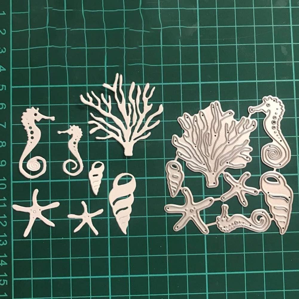 litty089 Mothcattl Cutting Dies Marine Animals Seahorse Starfish Cutting Die Scrapbooking Card Making Stencil Scrapbooking Cutting Dies