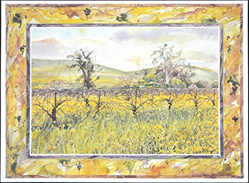 Wine Country Art Fine Lithograph Print (Mustard Vine)