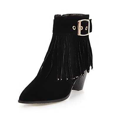 Women's Zipper Pointed Closed Toe Kitten-Heels Imitated Suede Low-top Boots