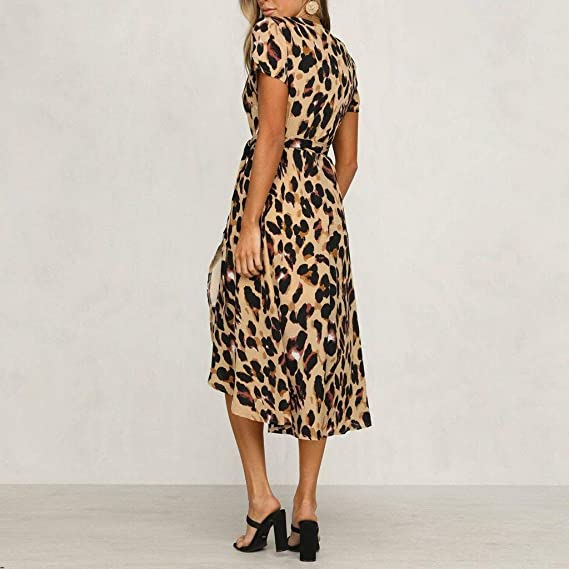 BAOHOKE Leopard Print Short Sleeve Women/'s Summer Wrap Dress,Casual V Neck Elegant Working Midi Dresses