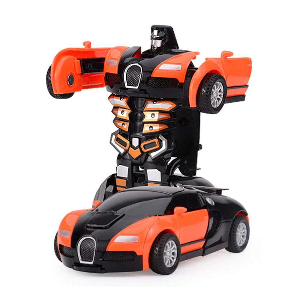 FOONEE Roboterverformung Auto für Kinder, Roboter Rückzieh-Spielzeug Roboter verformt Auto von Colliding verwandelt wunderbares Geschenk