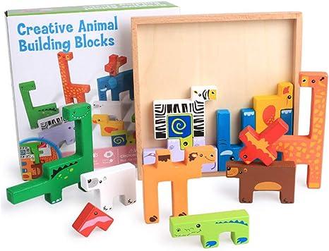 Buyger 3D Puzzle Tetris Animales de Madera Bloques de Rompecabezas Juguete Educativo Regalo para Niños Niña Infantiles: Amazon.es: Juguetes y juegos