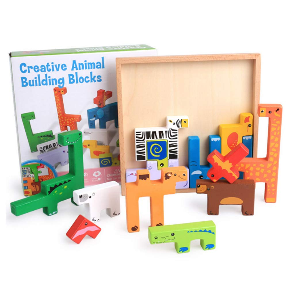 Buyger 3D Wooden Animal Jigsaw Puzzle Board Tangram Toys Building Block Educational Gift for Kids