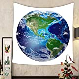 Madeleine Ellis Custom tapestry blue planet earth from space showing north south america usa global world isolated on white