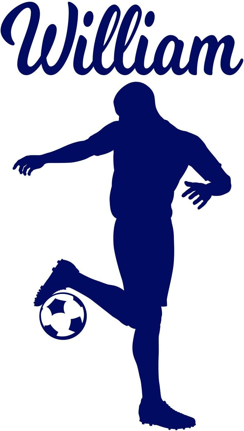 Soccer Player Boy Decal Custom Name Wall Room Personalized Vinyl Sticker C (Large: 25