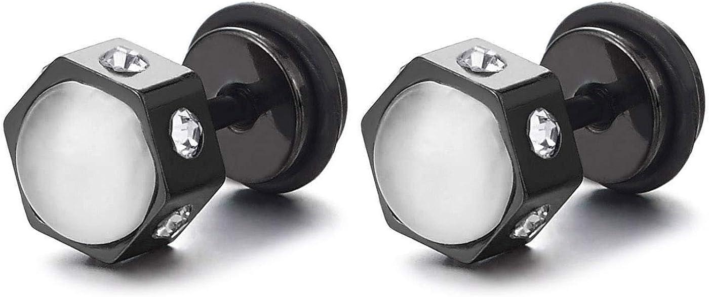 2 Negro Hexágono Pendientes Aretes con Blanco Piedras y Circonio Cúbico, Acero Enchufe Falso Fake Cheater Plugs Gauges