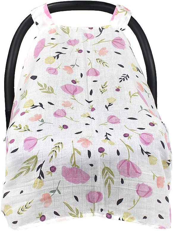 Unisex Multifunction Large Lightweight Stroller Covers Infant Carrier Safety Basket Sunshade Covers Breathable 100/% Cotton Muslin Carseat Canopy QCWN Baby Car Seat Cover Pink Flowers