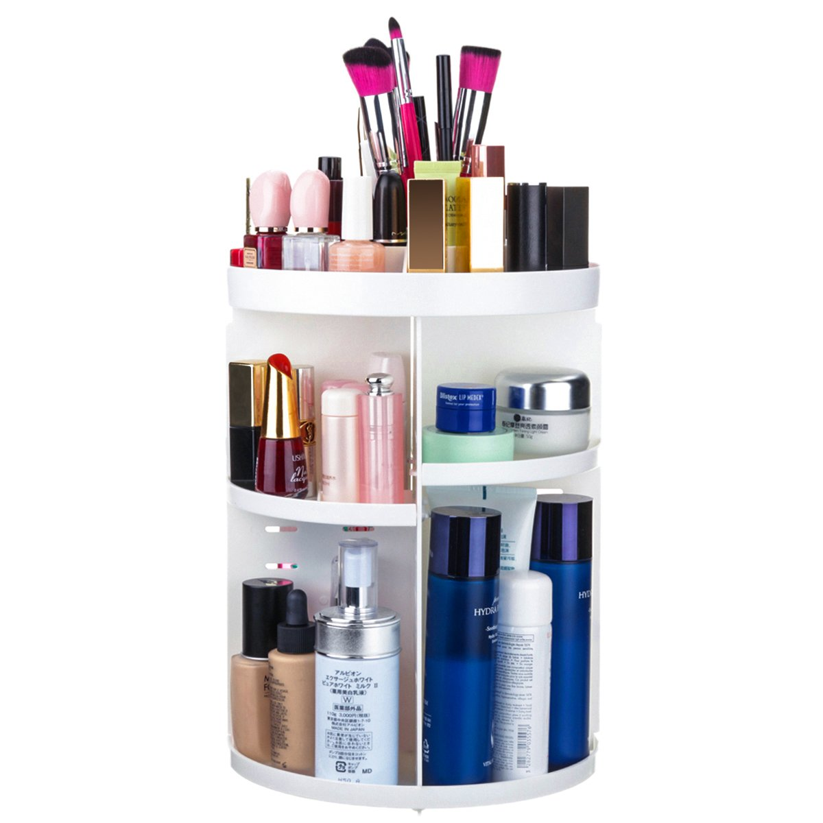 Cosmetic Organizer, TAPCET Makeup Organizer 360 Degree Rotating Adjustable Large Capacity Multi-Function 7 Layers Cosmetic Storage Holder, Great for Countertop, Bathroom, White Asymden_CA