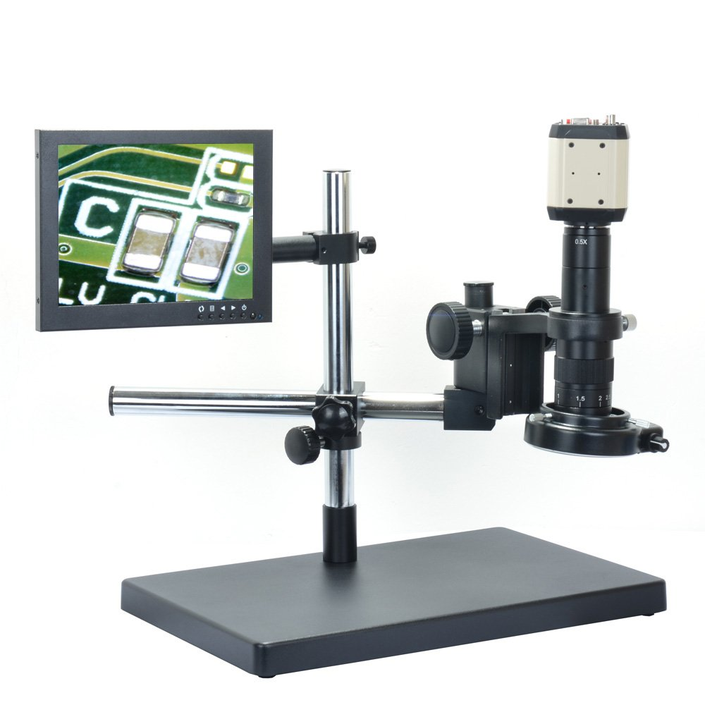 2.0MP Digital Microscope Kit USB VGA AV Industrial Camera + 180X C-mount Lens + Big Stereo Stand + 8 inch LCD Monitor + 144 Adjustable LED Lamp
