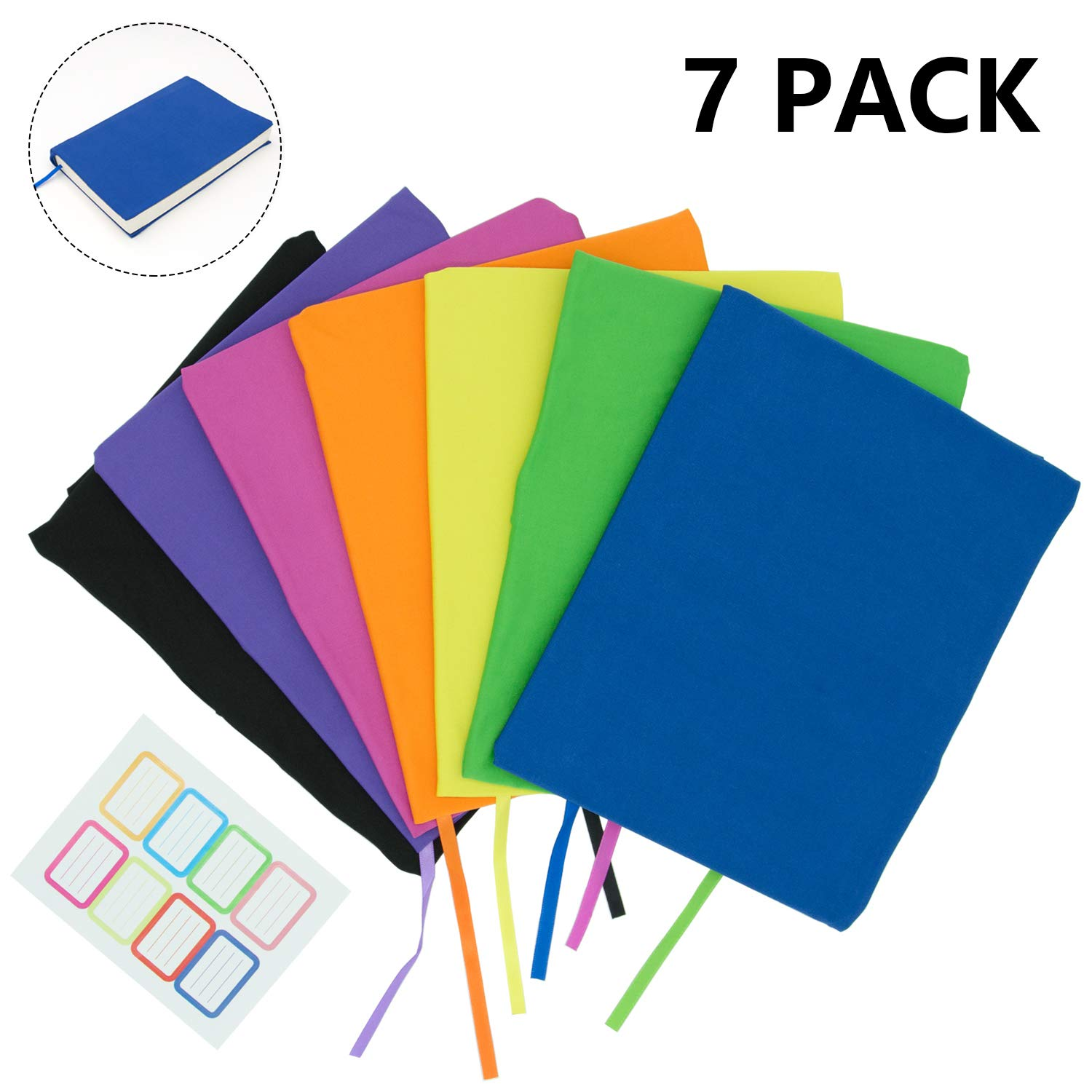 KIMCOME Jumbo Book Covers 7 Pack, Stretchable Book Sox Suitable For Most Hardcover Books, Up To 9.5 Inch x 14 Inch  Durable, Washable, Reusable Protective Textbook Covers with Label Sticker by KIMCOME