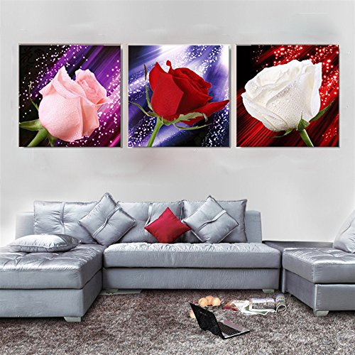 Red Rose Oil Canvas Paintings Dream Modern 3 Piece Prints Beautiful Flowers Stretched And Framed Ready To Hang Pictures Paintings On Canvas Wall Art Work For Bedroom Home Decorations Buy Online In