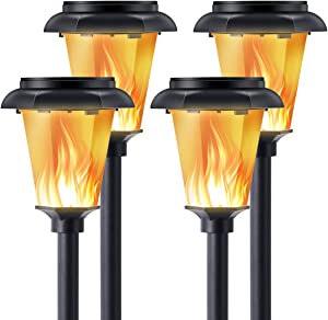 MAKITESY 4PCS Solar Lights Outdoor, Garden Torch Light Solar Powered with Flickering Flame, Waterproof Christmas Halloween Landscape Decoration Lanterns for Patio Yard, Dusk to Dawn Auto On/Off