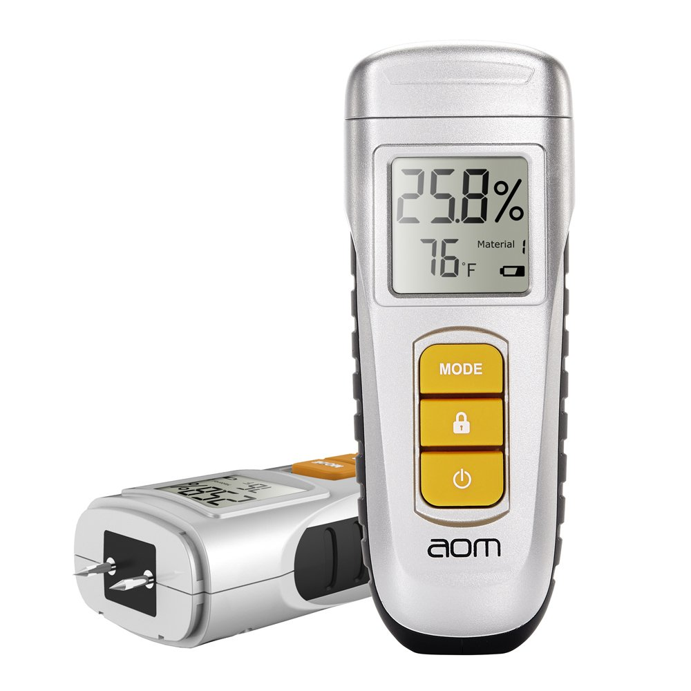 aom Wood Moisture Meter, 2 Pins Portable Digital LCD Wood Building Moisture Detector for Wood, Walls, Concrete, Plaster, Logs, Firewood, Cement