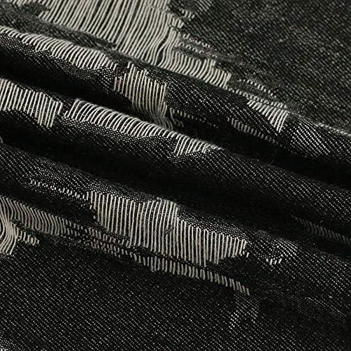 WZ0422 デニム、綿は、不規則なパターンオリジナルデニム生地は、デニムジーンズ(100 * 150センチメートル)で洗浄してもよいジャガード (Color : Black)