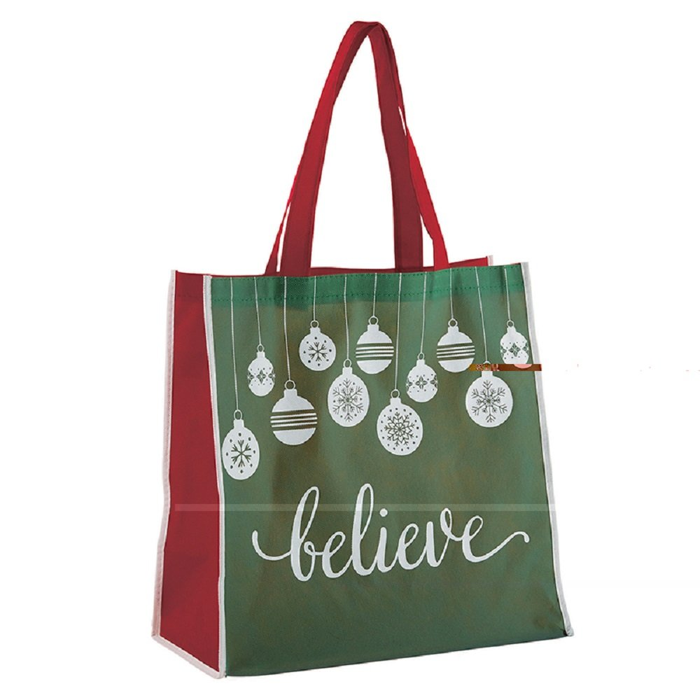 AT001 Pack of 12 Believe Christmas GreenTote Bags, 13'' W x 13'' H x 6'' D.