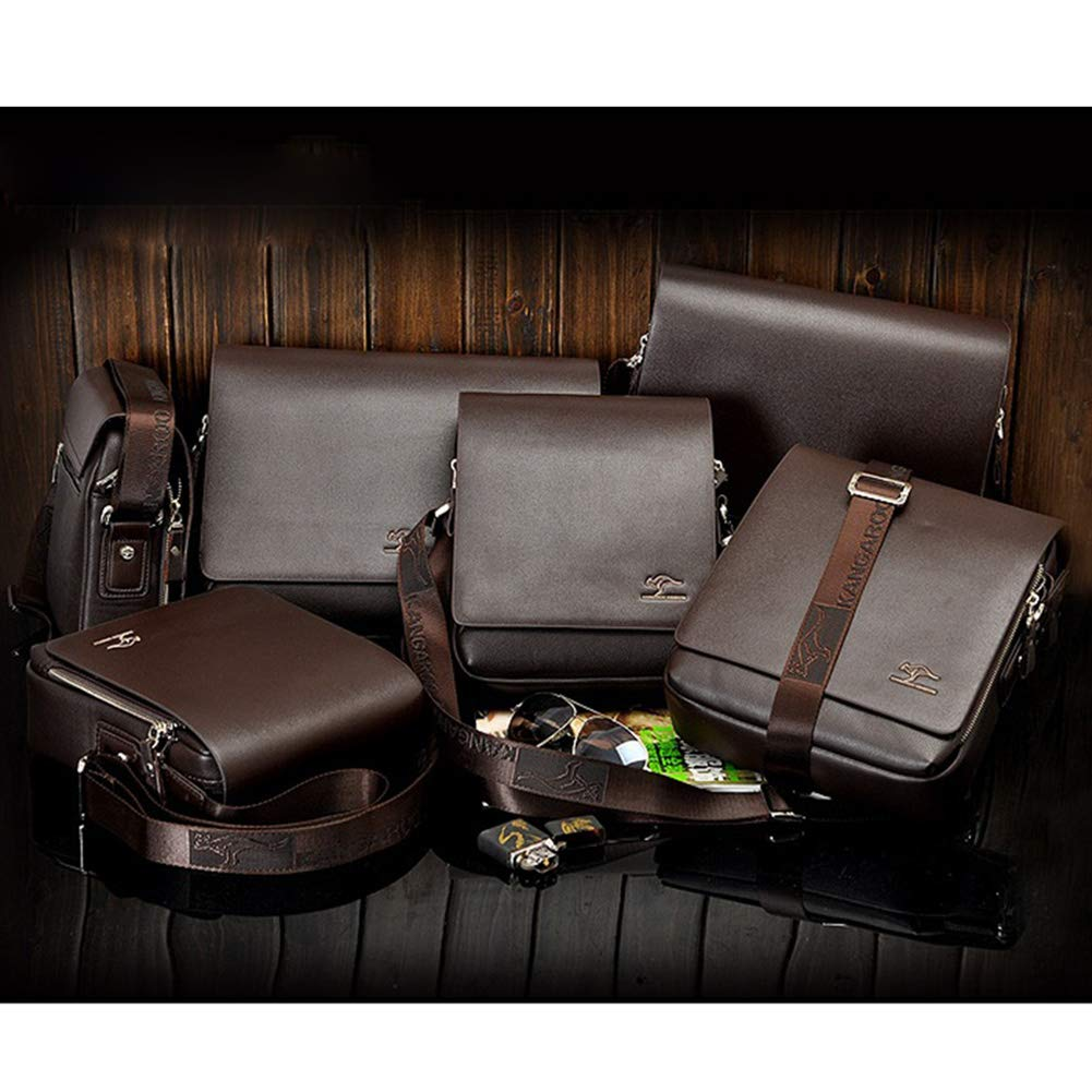 Aoile Men Zipper Shoulder Bag Business Casual PU Briefcase 4361 Brown