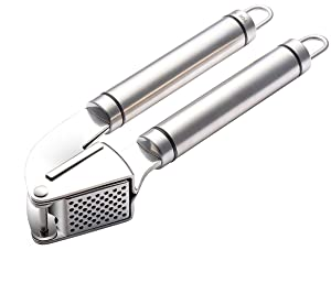 Poplar Garlic Press, 18/10 Stainless Steel mincer, Press ginger with ease.