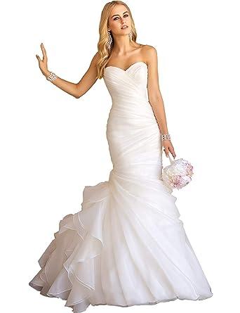 afe0baa0f815 Sexy Sweetheart Pleated Mermaid Wedding Dresses Ruffles Organza Bridal  Gowns (Ivory,2)