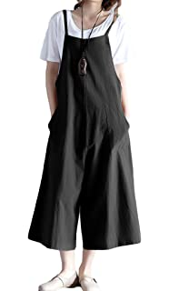 929f66e96eda0 Women s Loose Linen Suspender Trousers Wide Leg Overalls Jumpsuit Romper  Harem Pants Plus Size
