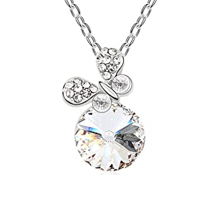 Btime Crystal From Swarovski Colorful Stone Necklace For Party (White)