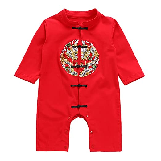 3d0bae918692 Amazon.com  Timall Baby Embroidery Clothes Chinese Style Romper Bodysuit  Jumpsuit Red Onesies for Unisex Kids  Clothing
