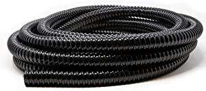 Beckett Corporation 2010BC 1 Inch by 20 Feet Corrugated Vinyl Tubing for Water Garden or Pond, UV Resistant, Black