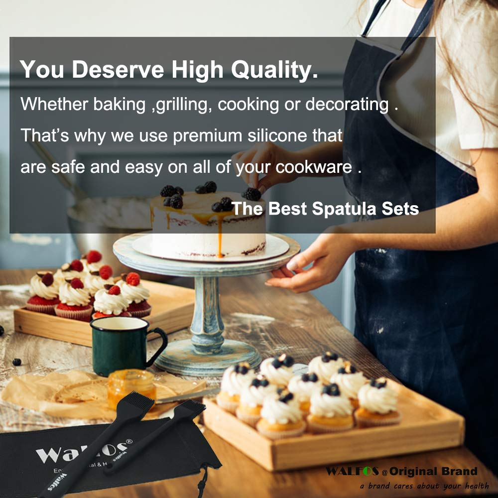WALFOS Silicone Basting Pastry Brush-High Heat Resistant Nonstick Silicone Brush for Baking,Barbecue,Cooking /& Grilling-Strong Stainless Steel Core Design BPA Free 8.2 Inch