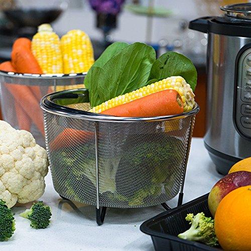 Vanghon Instant Pot Accessories 6 qt Steamer Basket, Eggs Vegetable Steamer Basket for Instant Pot Pressure Cooker with Non-Slip Legs, Food Grade Stainless Steel Steamer(Instant Pot 6 Quart) by Vanghon (Image #2)