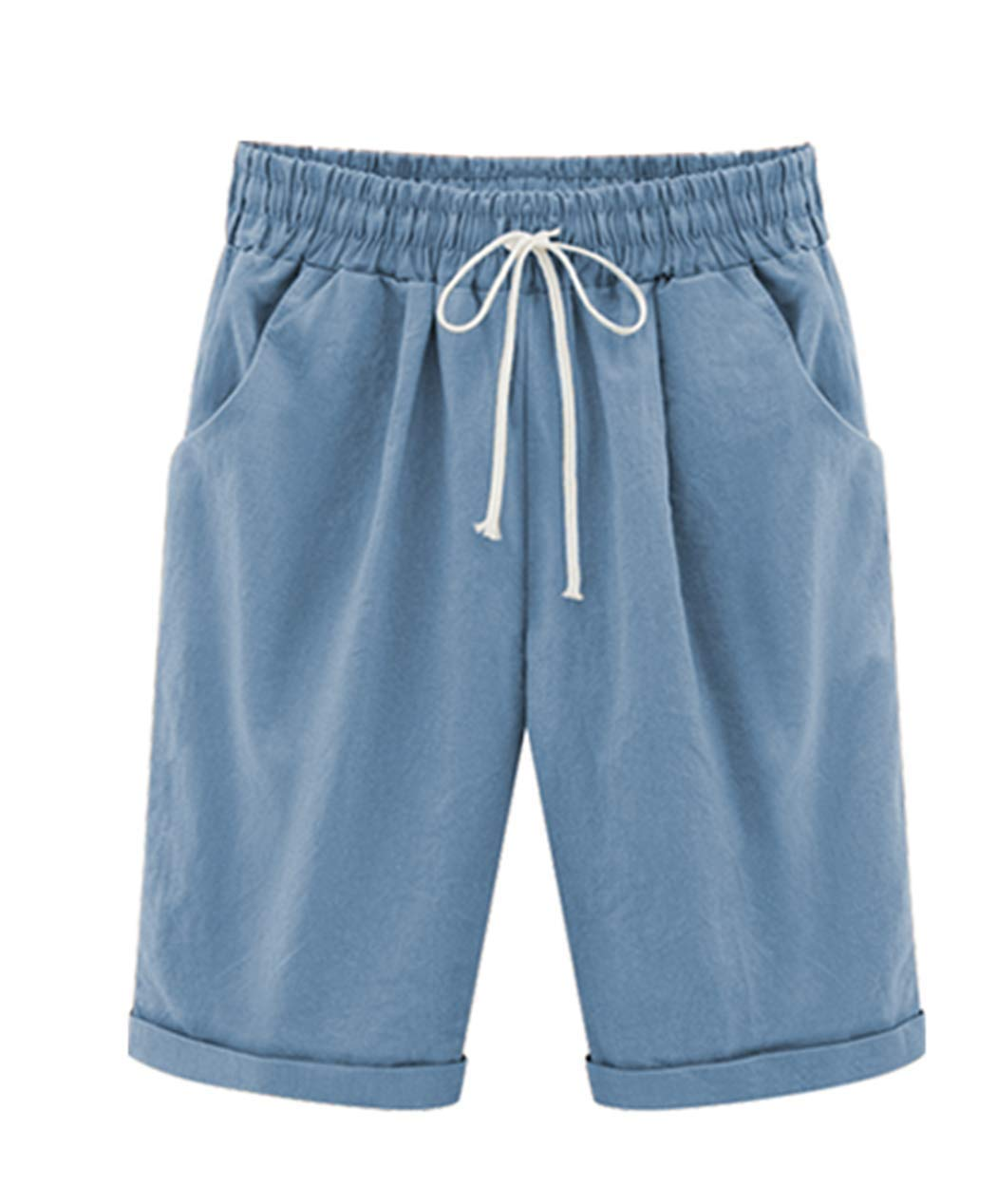 Vcansion Women's Loose Elastic-Waisted Bermuda Drawstring Casual Shorts Light Blue Asian 5XL/US 16-18 by Vcansion