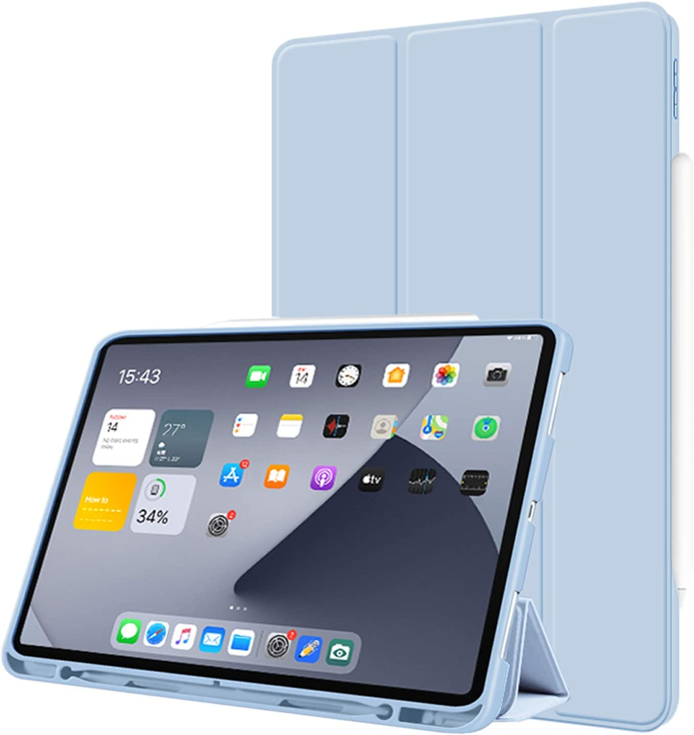 Aoub Case for ipad pro 12.9 2020(4th Generation) with Pencil Holder, Shockproof Flexible Soft TPU Back Cover with Auto Sleep/Wake, Support Apple Pencil Charging, Light Blue