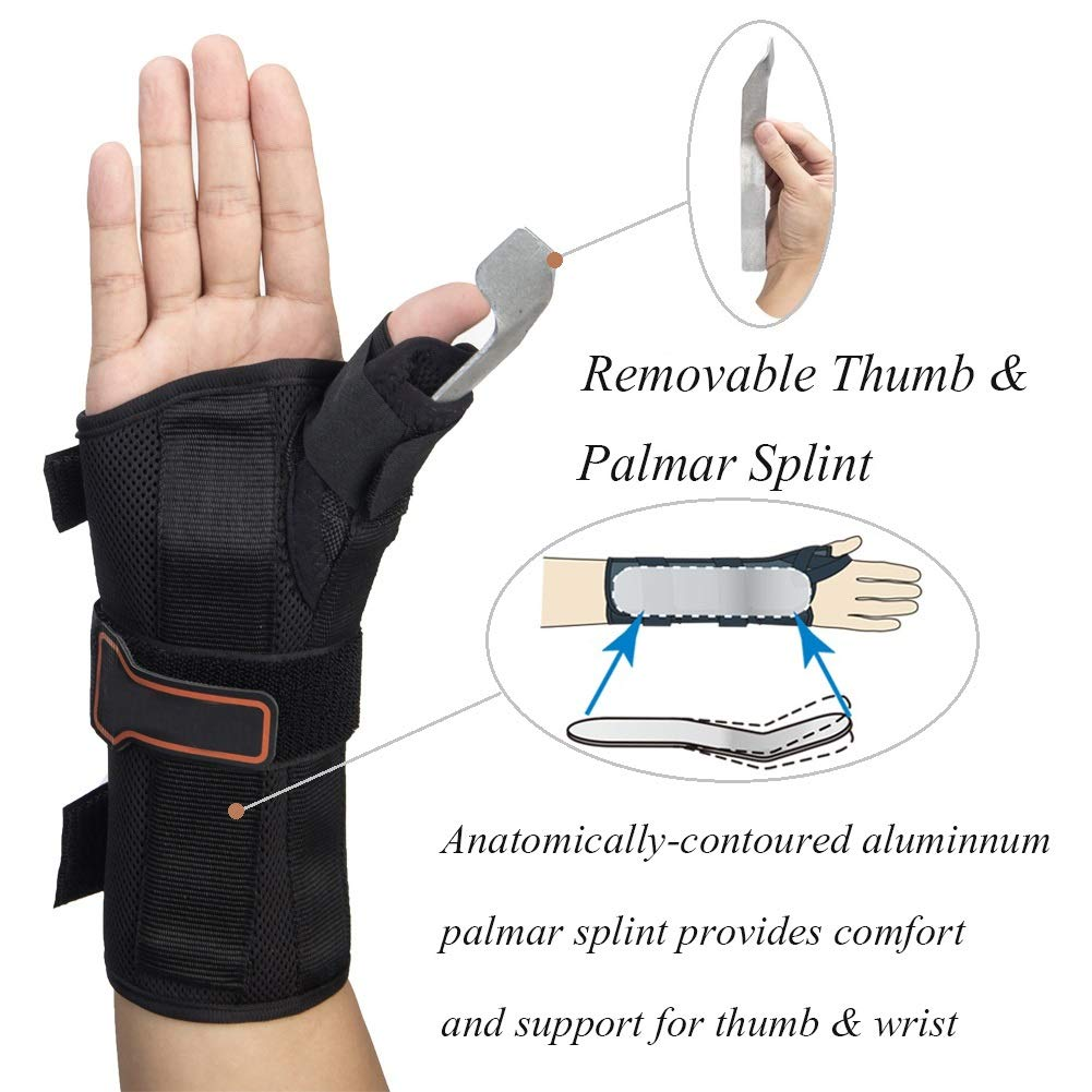 Thumb & Wrist Spica Splint, Adjustable Supportive Wrist Braces for Arthritis, Carpal Tunnel, Soft Tissue Injuries & Trigger Thumb Immobilizer Medium-Left by Medibot (Image #4)