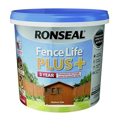 Ronseal RSLFLPPDO5L - pintura de 5 l Life Plus para valla, color roble natural