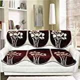 Tanya's Homes Brown Reversible Contemporary design heavy chenille and velvet sofa covers set for 3 seater sofa - pack of 6 piece with Length :- 66 ; Width :- 27