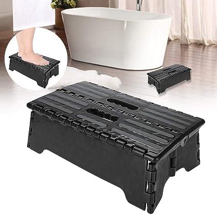Earthily Taburete plegable, taburete plegable de plástico portátil, escalera negra, suficiente para personas mayores, mujeres embarazadas y niños, adecuado para cocina, baño, inodoro, consistent: Amazon.es: Belleza