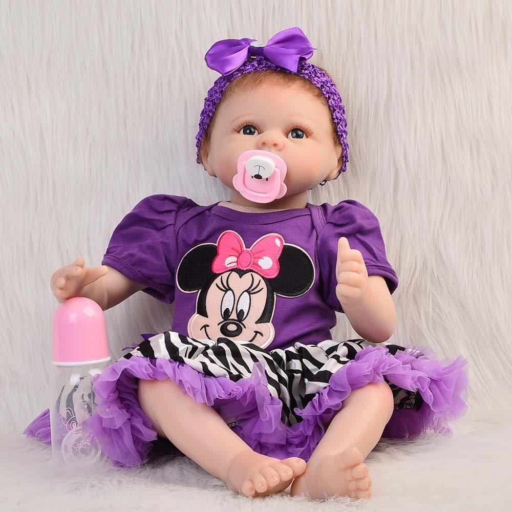 JIMIN1310 Baby Girl Handmade Alive Silicone Reborn Doll Baby 55 cm Lifelike Newborn Babies Girl Handmade Stuffed Dolls for Kid Birthday Xmas Gift Reborn