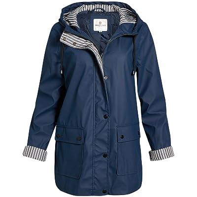 Urban Republic Women's Lightweight Vinyl Hooded Raincoat Jacket: Clothing