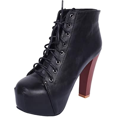 Womens Chunky Square Toe High Heel Wedges Lace Up Ankle Boot Bootie Platform Pumps