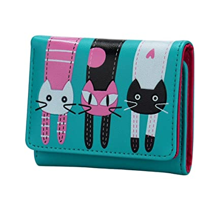 Rawdah Mujeres monedero de patrón de gato monedero billeteras cortas bolso de mano (Azul)