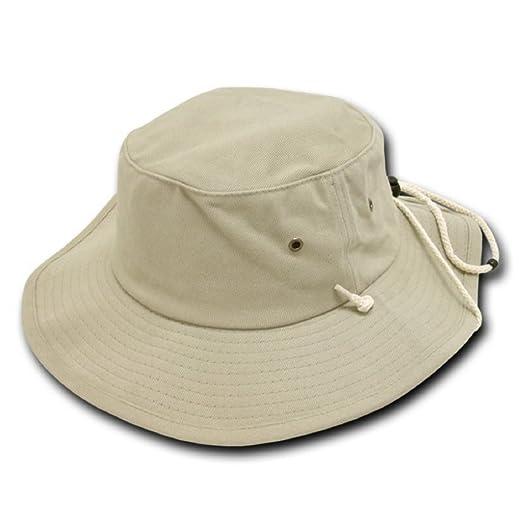8a7dae3ccf9 Decky Aussie Australian Style Outback Drawstring Bucket Hat (Khaki ...